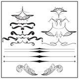 Винтажные каллиграфические элементы дизайна и deco страницы Стоковое Фото