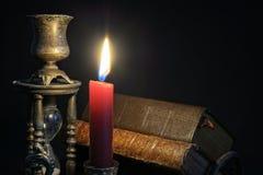 Винтажные книги и часы Стоковое Изображение