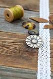 Винтажные кнопки с лентой шнурка Стоковое Изображение