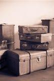 Винтажные кожаные чемоданы от начала двадцатого века Стоковое Изображение RF