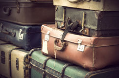 Винтажные кожаные чемоданы Стоковые Фотографии RF