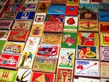 Винтажные коробки спички, рука нарисованные ярлыки Стоковое Фото