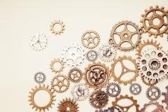 Винтажные колеса шестерни на светлой предпосылке Стоковое Изображение