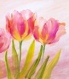 Винтажные красные тюльпаны Стоковое фото RF
