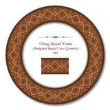 Винтажные круглые ретро геометрия рамки 064 аборигенная круглая перекрестная Стоковое Изображение RF