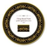 Винтажные круглые ретро крест кривой рамки 323 золотой спиральный иллюстрация вектора