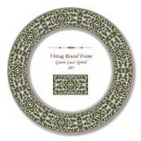 Винтажные круглые ретро спираль шнурка рамки 205 зеленая Стоковые Изображения