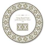 Винтажные круглые ретро цветок рамки 236 золотой круглый перекрестный Стоковое фото RF