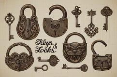 Винтажные ключи и замки Нарисованное вручную собрание объектов вектора ретро иллюстрация штока