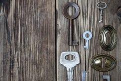 Винтажные ключи и keyholes Стоковые Фотографии RF