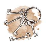 Винтажные ключи над предпосылкой акварели также вектор иллюстрации притяжки corel иллюстрация штока