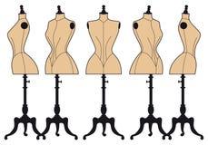Винтажные манекены моды, комплект вектора Стоковые Изображения