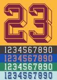 Винтажные номера шрифта Джерси Стоковая Фотография RF