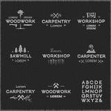Винтажные логотипы работы по дереву Стоковая Фотография RF