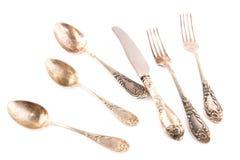 Винтажные ложки, нож и вилки Стоковые Фотографии RF