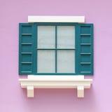 Винтажные окна на розовой стене Стоковые Изображения