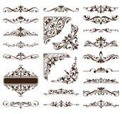 Винтажные орнаменты конструируют стикеры углов рамки обочин предпосылки флористических curlicues элементов белые Стоковое Изображение RF
