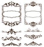 Винтажные орнаменты конструируют стикеры углов рамки обочин предпосылки флористических curlicues элементов белые Стоковые Изображения RF