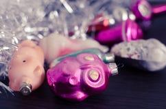 Винтажные орнаменты рождества Стоковая Фотография