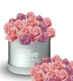 Винтажные оформления иллюстрации вектора коробки букета роз Стоковая Фотография RF