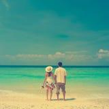 Винтажные пары пляжа стоковое изображение