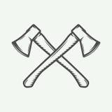 Винтажные перекрестные оси в ретро стиле Смогите быть использовано для логотипа, эмблемы бесплатная иллюстрация