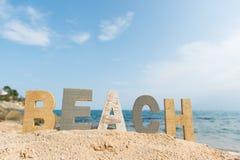Винтажные письма на пляже Стоковые Изображения