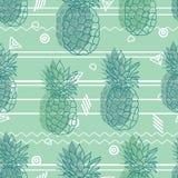 Винтажные племенные ананасы зеленого цвета мяты vector картина повторения предпосылки безшовная Печать ткани лета красочная тропи бесплатная иллюстрация