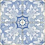Винтажные португальские голубые плитки Стоковое Фото