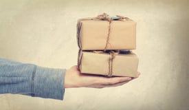 Винтажные подарочные коробки стиля Стоковое фото RF