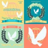 Винтажные плакаты на международный день мира Стоковое Изображение