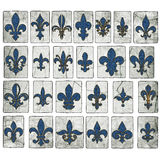 Винтажные плитки улицы Деревянн Fleur De Lis Собрания Нового Орлеана Стоковая Фотография RF