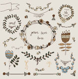 Винтажные рамки и handdrawn флористическое Стоковые Изображения