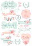 Винтажные рамки свадьбы и ленты, комплект вектора иллюстрация вектора