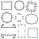 Винтажные рамки установили - винтажную пачку clipart вектора рамок Установите рамок на белой предпосылке сделанной в простом стил иллюстрация штока