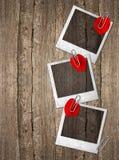 Винтажные рамки фото с лепестками красной розы Стоковая Фотография RF