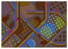 Винтажные ретро обои предпосылки стиля Нашивки, линии, точки польки Стоковая Фотография