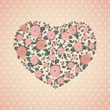 Винтажные розы в форме сердца вектор Стоковая Фотография