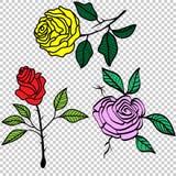 Винтажные розы установили иллюстрацию вектора татуировки стоковая фотография rf