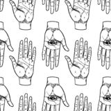 Винтажные руки с полностью видя глазом Мистик, волшебство, предпосылка Re иллюстрация штока