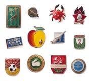 Винтажные советские значки Стоковое Фото