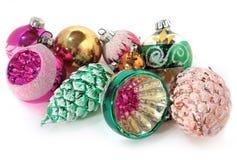 Винтажные стеклянные игрушки рождества для рождественской елки На Стоковые Изображения RF