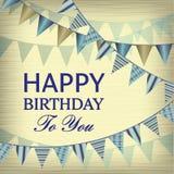 Винтажные с днем рождения Card иллюстрация штока