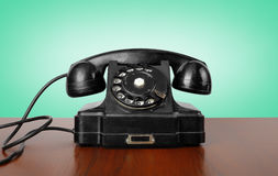 Винтажные телефоны - почерните ретро телефон Стоковое Фото