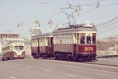 Винтажные трамваи идут к депо Стоковое фото RF