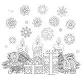 Винтажные украшения и подарки рождества иллюстрация вектора