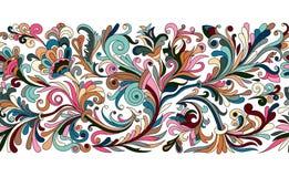 Винтажные флористическая барочная безшовная граница с зацветая магнолиями, розовые и хворостинами, розами vector иллюстрация, цве бесплатная иллюстрация