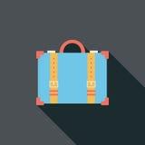 Винтажные чемоданы перемещения, плоский значок с длинной тенью Стоковое Фото