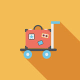 Винтажные чемоданы перемещения, плоский значок с длинной тенью Стоковое фото RF
