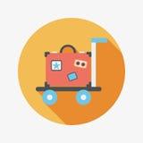Винтажные чемоданы перемещения, плоский значок с длинной тенью Стоковые Фотографии RF